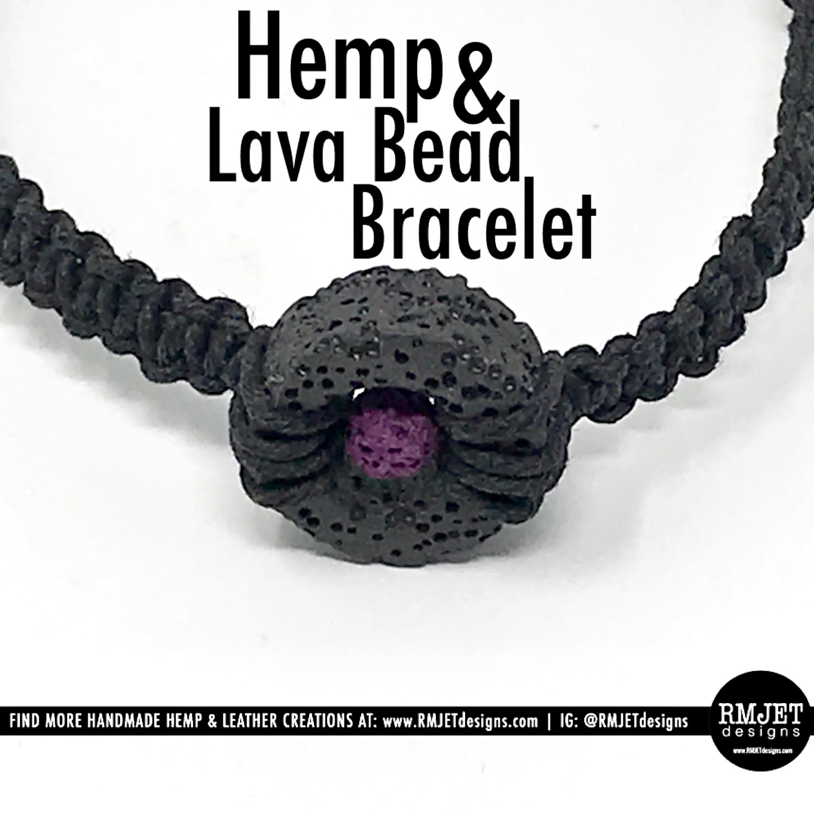 Why we use Lava Rock Beads in our Handmade Jewelry by RMJETdesigns - Hemp & Lava Rock Bead Bracelet