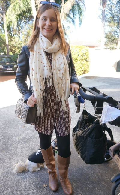 Layering a shirt dress for winter: tall boots, leather jacket, star print scarf | AwayFromBlue