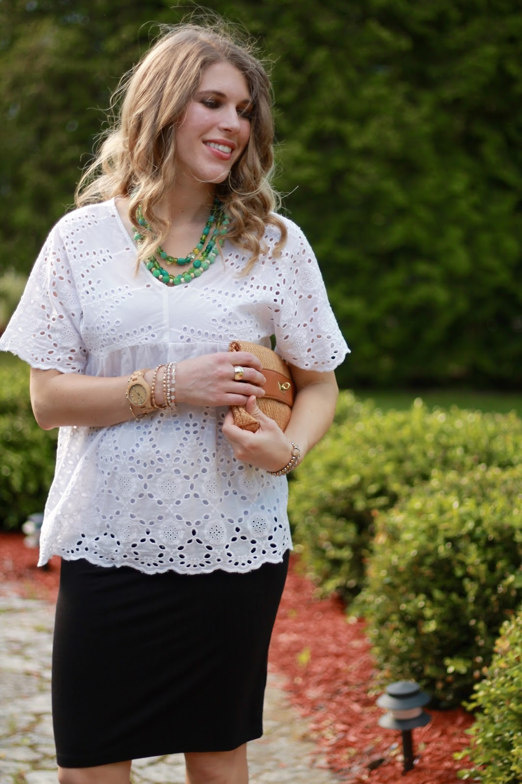 white eyelet top, maternity black pencil skirt, Steve Madden wedges, straw clutch, turquoise necklace