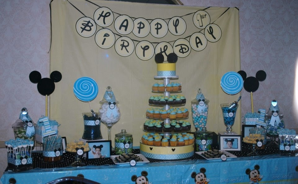 Treat Me Sweet Mickey Mouse 1st Birthday Dessert Table