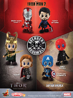 Marvel Avengers Assemble Cosbaby Series - Iron Man [Mark V], Tony Stark, Thor, Loki, Captain America and the Red Skull