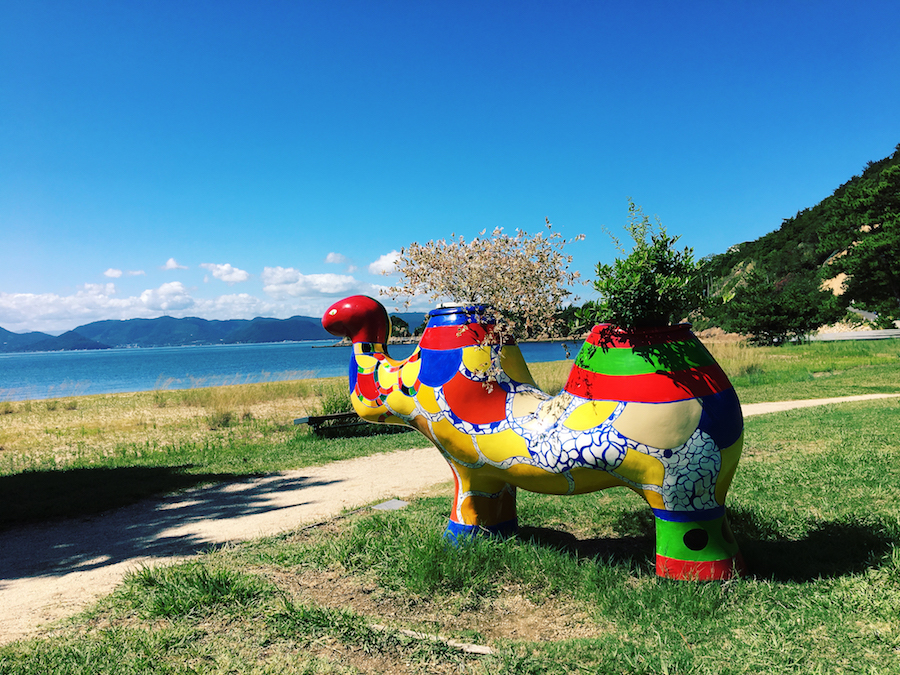 A fun camel sculpture in Benesse outdoor sculpture garden Naoshima Island Japan