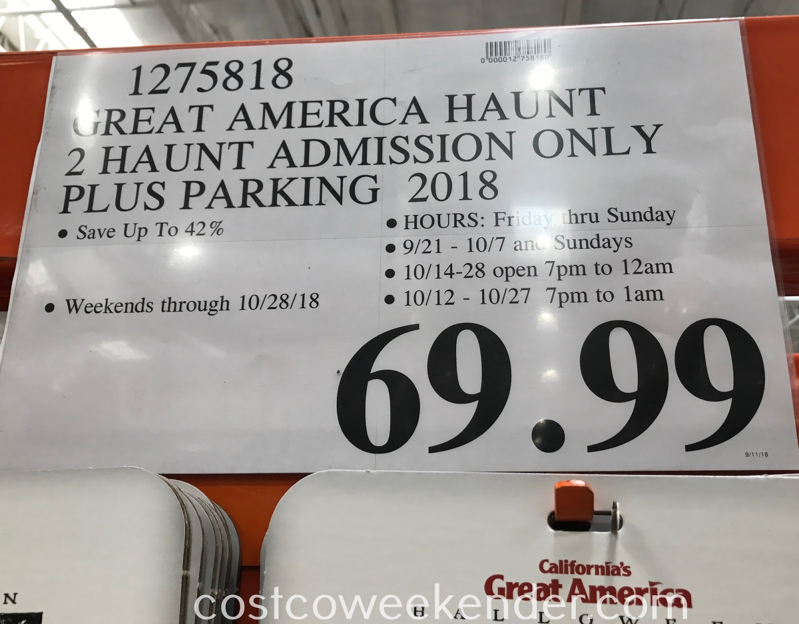 Deal for 2 Halloween Haunt tickets and parking Great America at Costco