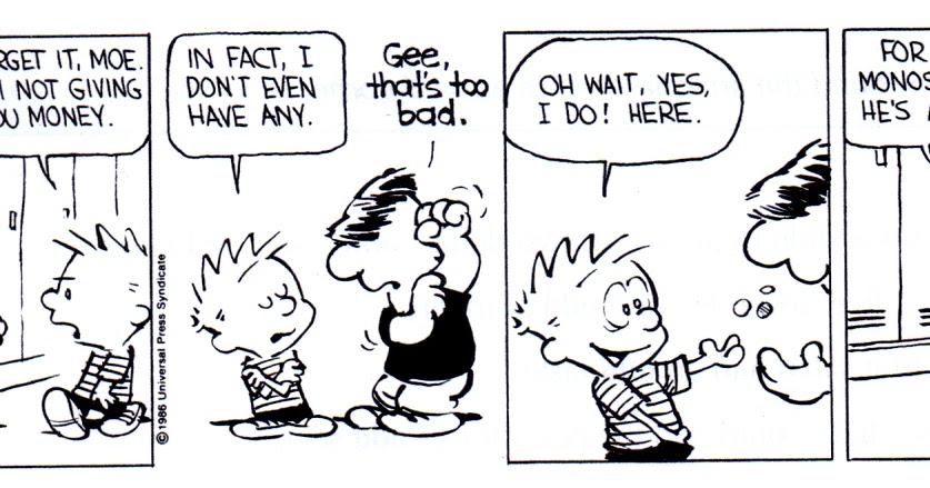 English Activities : Interpretação tirinha Calvin em inglês