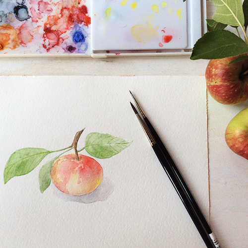 Apple watercolor painting