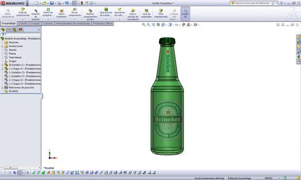 Apariencia botella de Heineken con Solidworks
