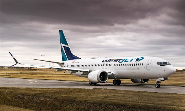 Boeing 737 MAX 8 of WestJet Airlines on Runway