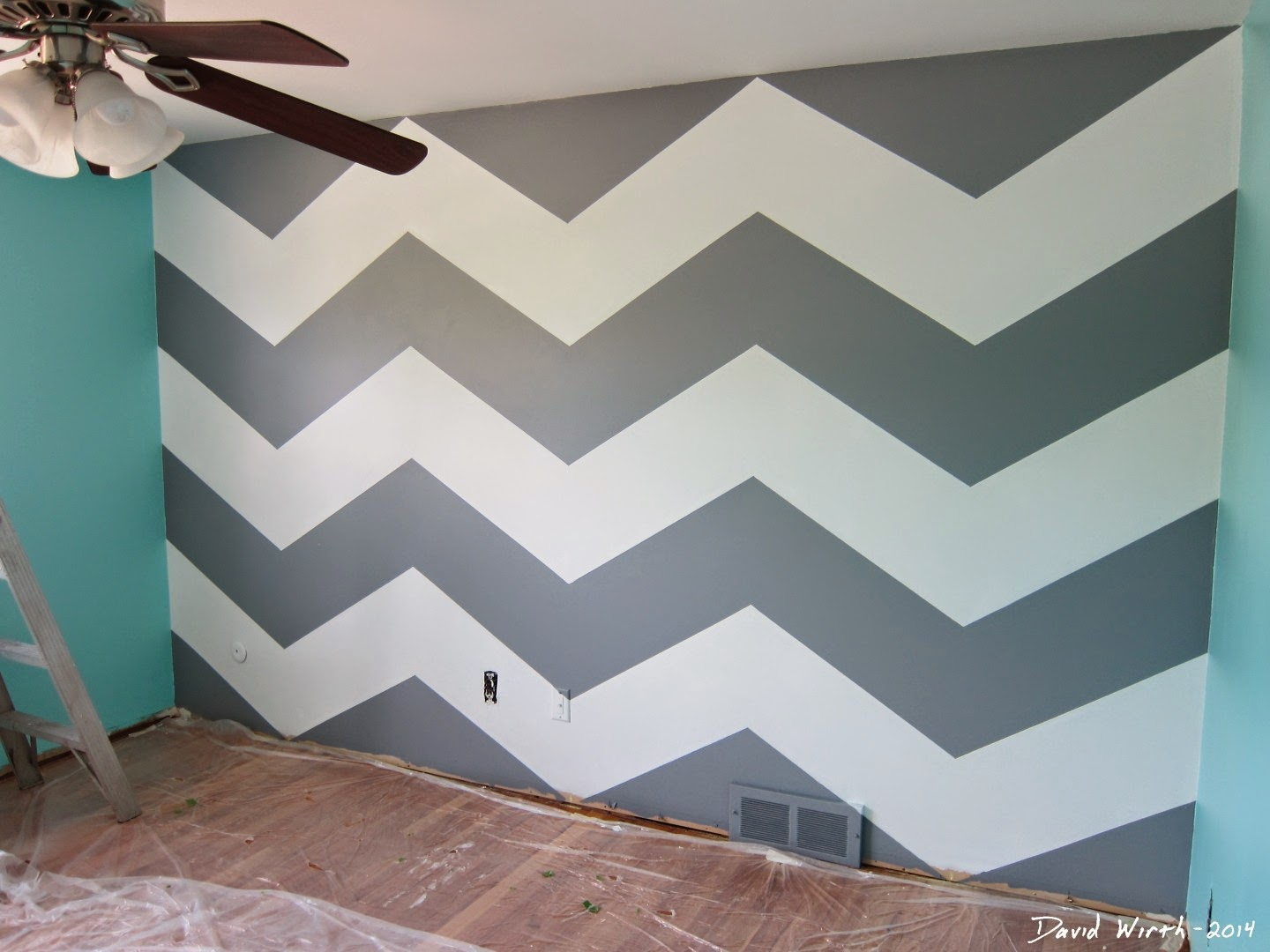zig zag wall design, how to, steps, geometric, grid
