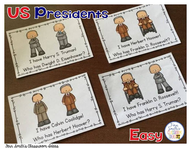 I Have, Who Has? U.S. Presidents Cards, Teacher Directions and a Teacher Answer Key. Including all the presidents from George Washington to Joe Biden. Total of 1 Teacher Direction Sheet, 90 President Cards, and 2 Teacher Answer Keys comes with this resource. An easy version with names only and a more challenging version with names and numbers. Perfect for indoor recess, whole group reading or tutoring after school, add a little fun to your Presidents' Day week.