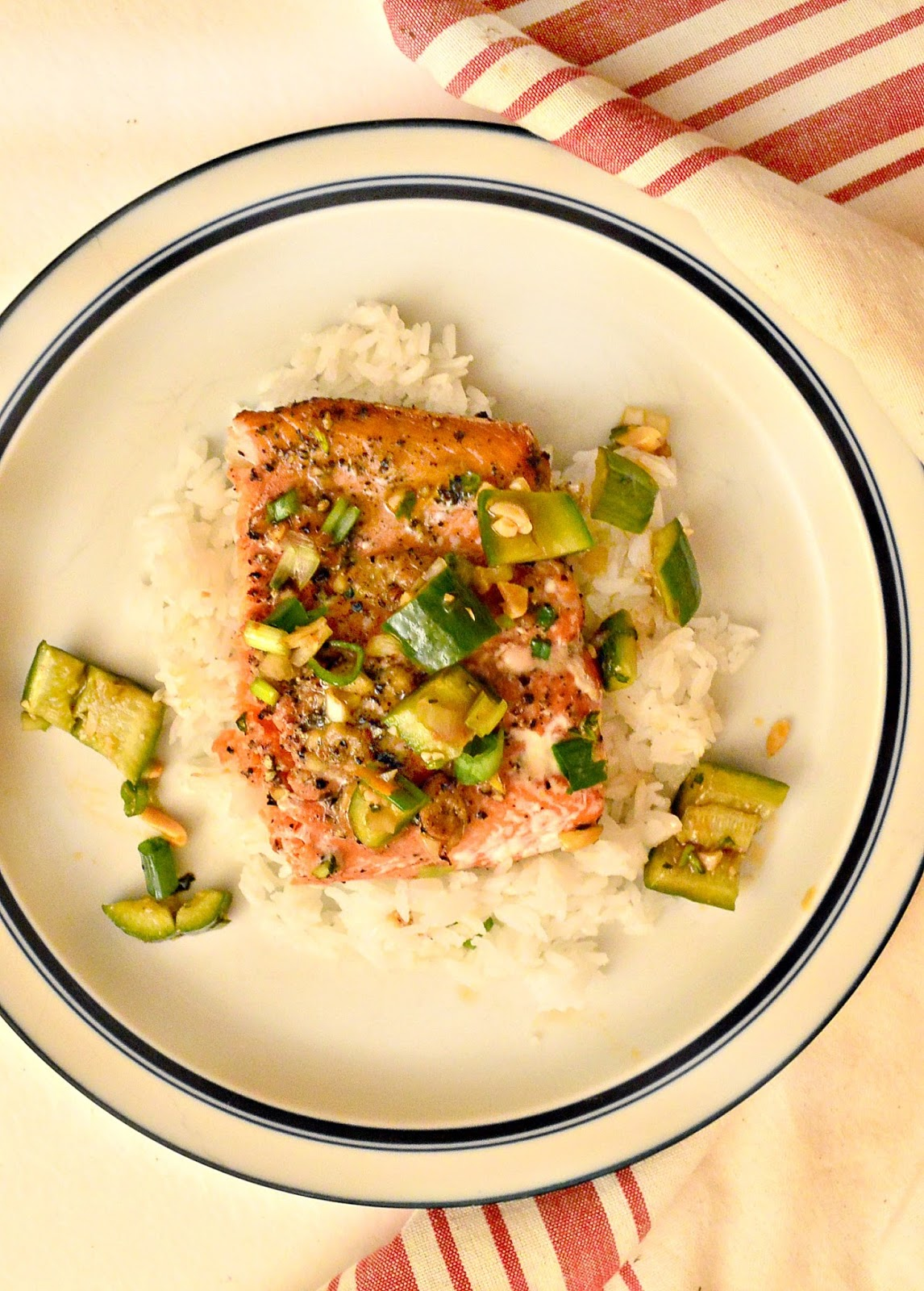Vietnamese Salmon with smashed cucumbers