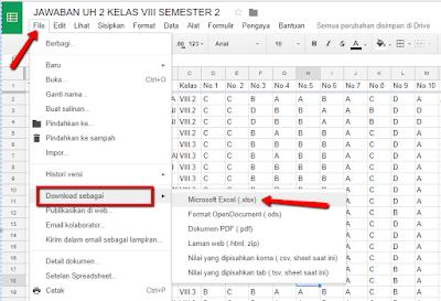Panduan cara mengolah hasil ulangan online dengan menggunakan Google spreadsheet