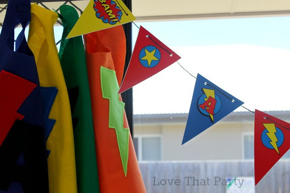 image of superhero party decorations bunting