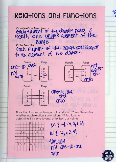 These interactive notebook pages for functions and relations were great for my algebra 2 students.  There were foldable notes and activities to keep them engaged and learning the whole time!  FREE DOWNLOAD