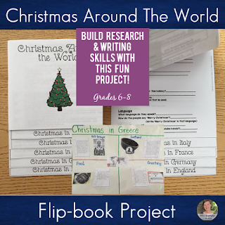 Use this flipbook to create an authentic holiday writing experience for your middle school students! #teaching #christmas #research