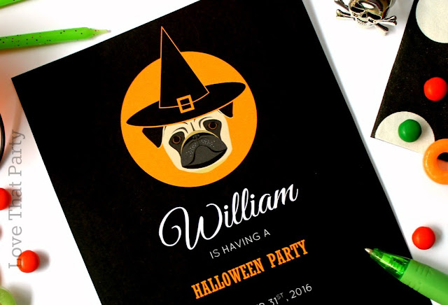 image of pug halloween invitation and party supplies in black white orange