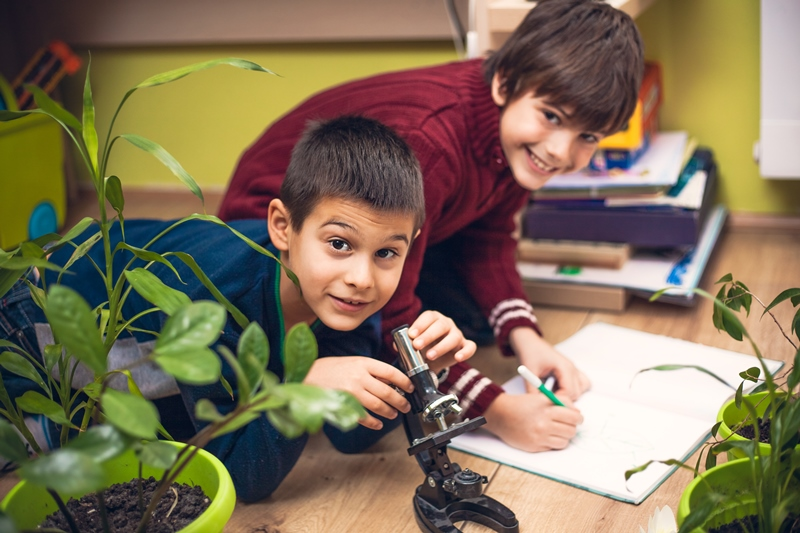 NAMC Montessori Key Lessons boys working with plants and microscope