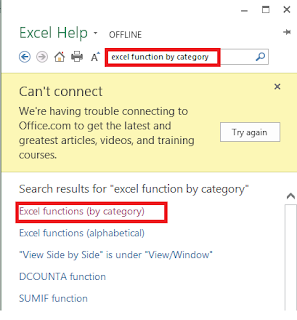 MS-Excel function search results
