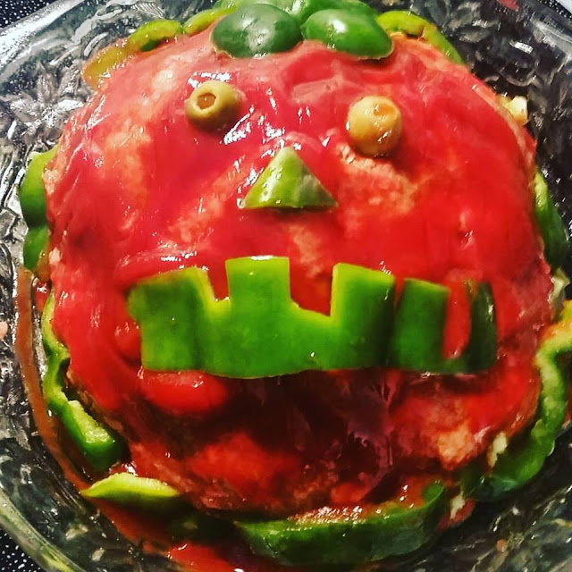 this is pumpkin made into a ghoulish meatloaf for halloween Party fun