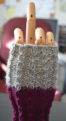 faux cabled fingerless gloves  https://www.etsy.com/shop/JeannieGrayKnits