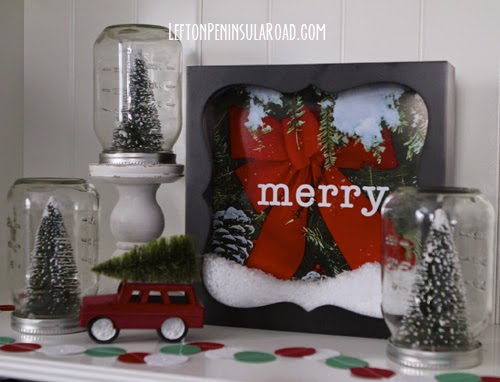 Make a snowy shadowbox for Christmas.
