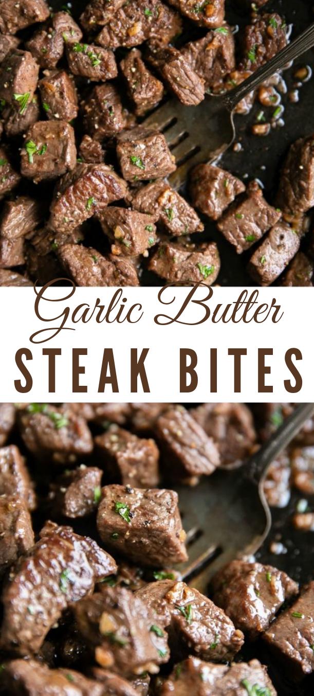GARLIC BUTTER STEAK BITES RECIPE #stick #dinner