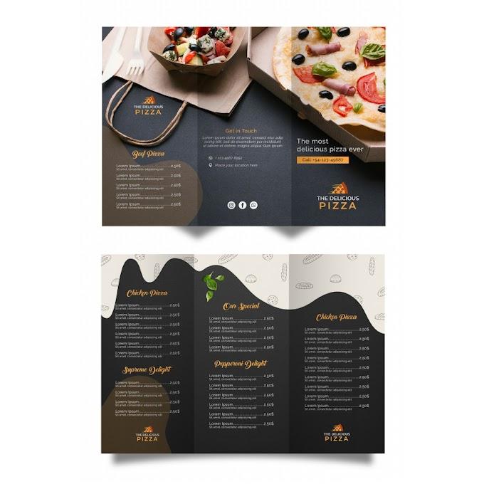 Tri-fold pizza menu design template free psd file
