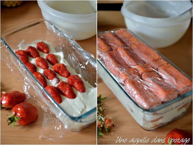 Charlotte aux fraises de Plougastel et biscuits roses de Reims