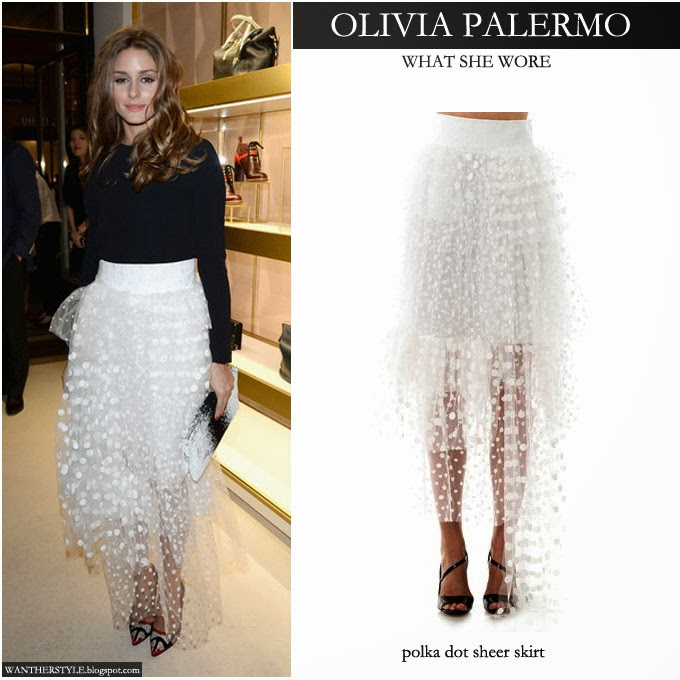 417c59e9334705 Olivia Palermo in white polka dot sheer tulle maxi skirt with black top in  Paris -