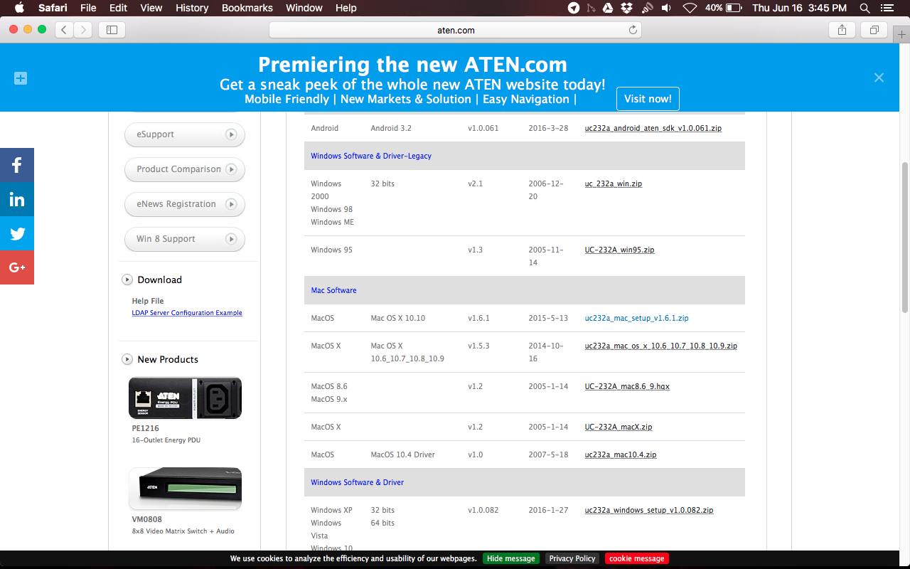 Simple install Aten Serial to USB (UC232A) on OS X El Capitan