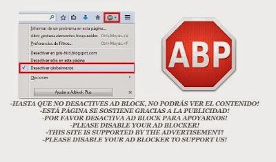 Aviso desactivar Adblock