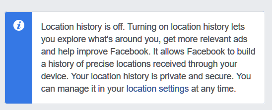 Turn off Faceboo location history
