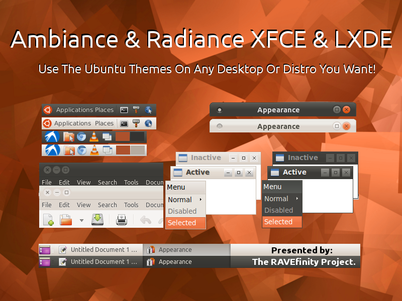RAVEfinity: Ambiance & Radiance for Xfce & LXDE