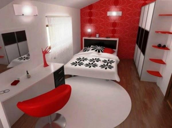 Habitaciones en blanco rojo y negro ideas para decorar - Decoracion blanco negro rojo ...