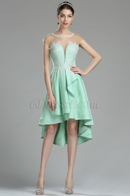 cute green lace applique prom evening dress
