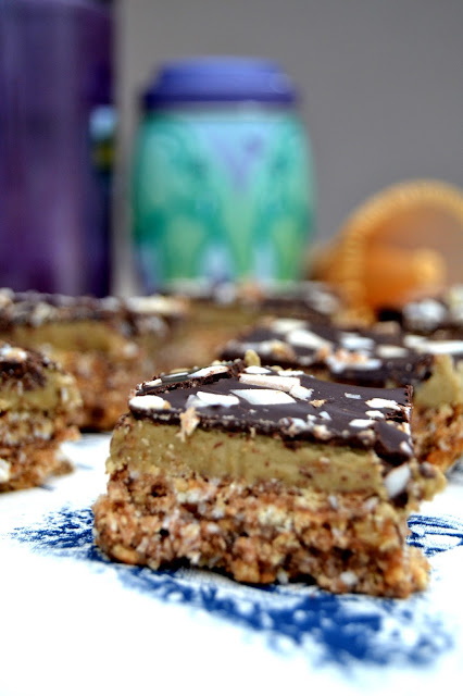 nanaimo bars flavoured with matche purple tea powder