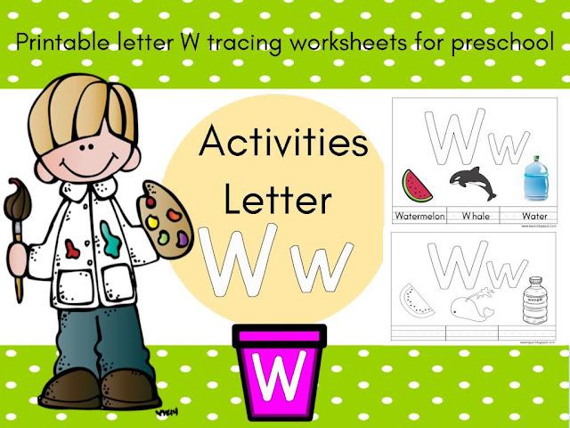 اوراق عمل الحروف الانجليزية letter w للروضة