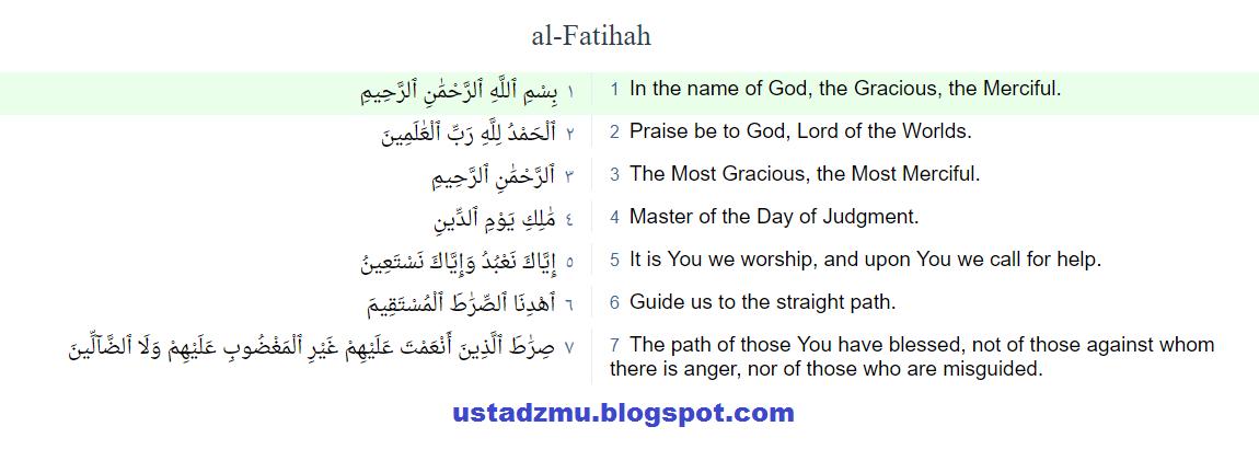 Penamaan Al Fatihah Dan Nama Nama Lain Surat Al Fatihah