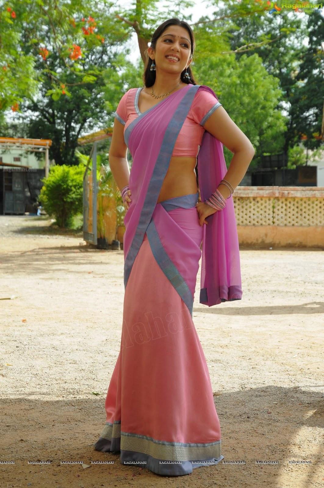 Charmi Kaur In Saree - Side Poses Hot Stills - Sabwoodcom-7063