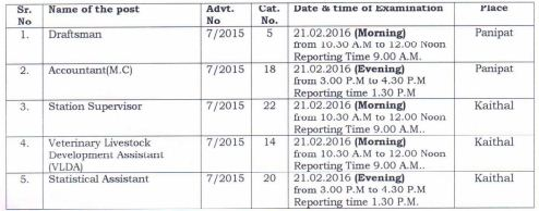 image : HSSC Exam Schedule 2016 : Advt. No. 7/2015 @ Haryana Education News
