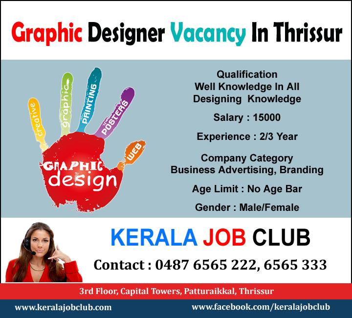 Graphic Designer Vacancy In Thrissur 0487 6565123 Kerala Job Club