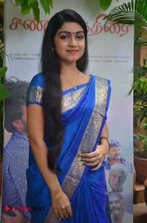 Actress Manasa Pictures in Blue Saree at Sandi Kuthirai Movie Interview 0011
