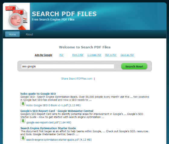Como buscar eBooks con Search PDF Files