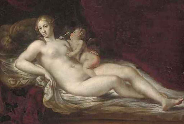Venus and Cupid by Francesco Albani, classical mythology, Greek mythology, Roman mythology, mythological Art Paintings, Myths and Legends