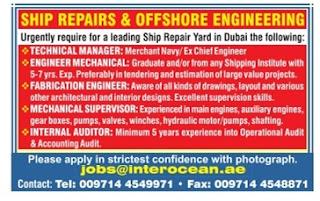 offshore engineering & ship repairs jobs in dubai