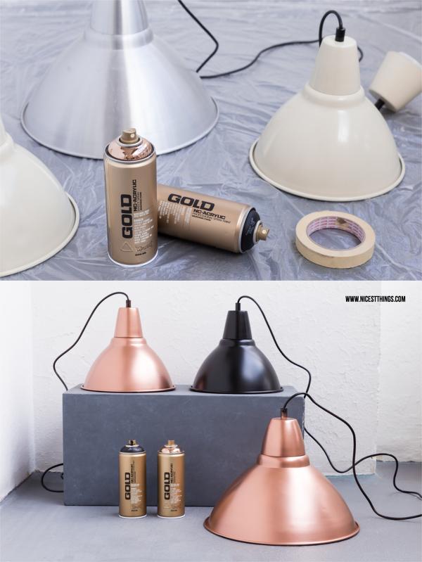 DIY Lampenschirm Kupfer Metallic lackieren Kupferspray Leuchte