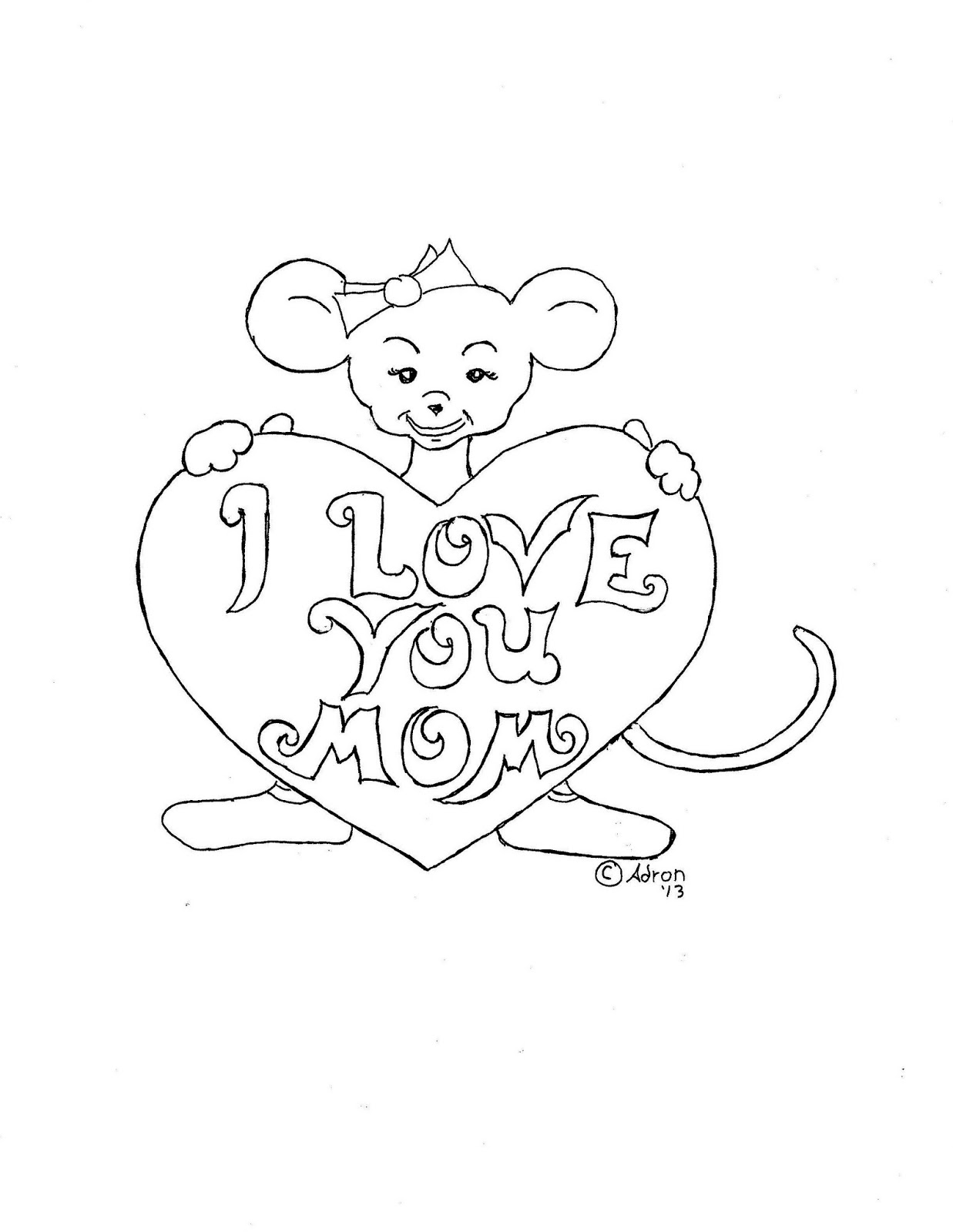 Coloring Pages For Kids By Mr Adron Print And Color Mother S Day Picture Girl Mouse With Big