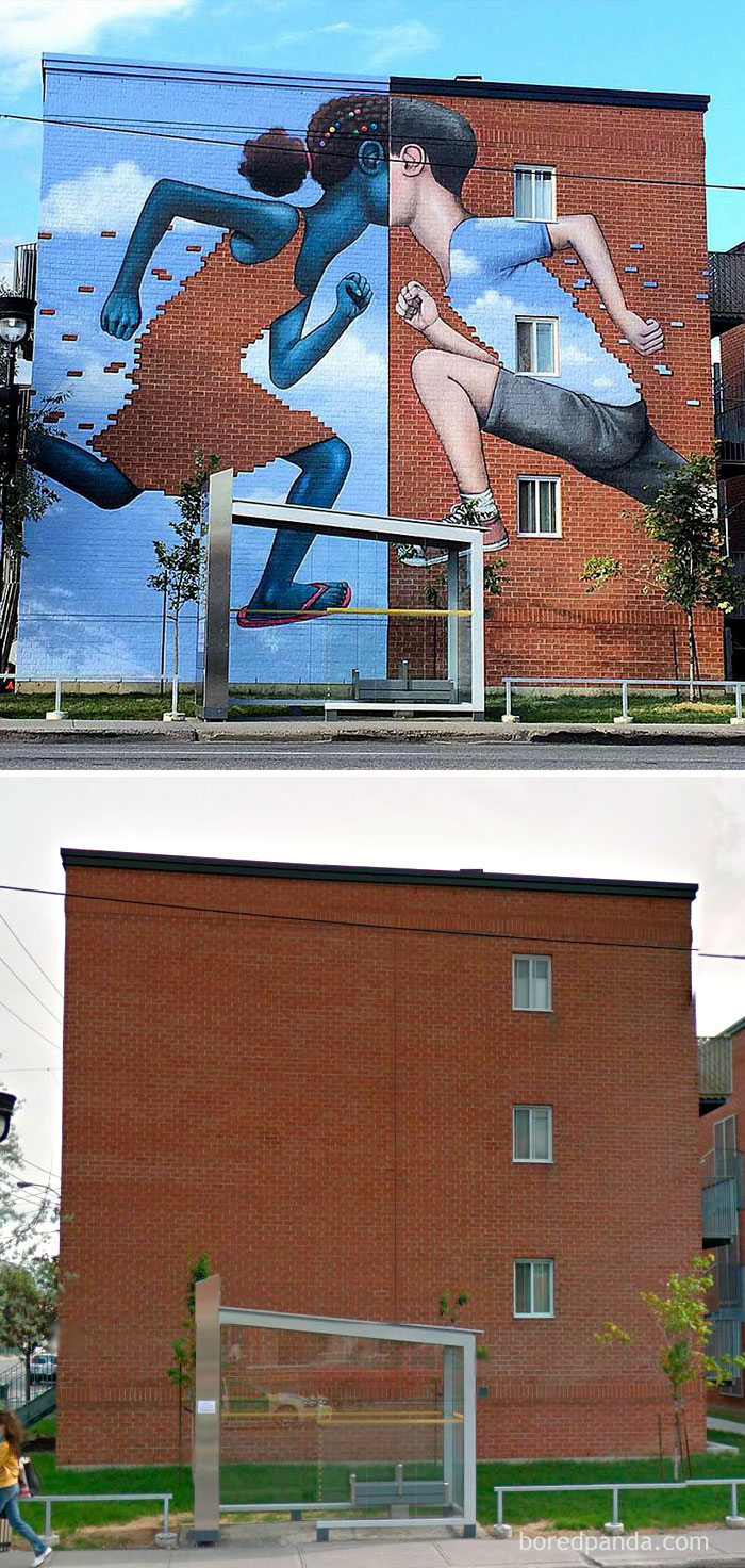 10+ Incredible Before & After Street Art Transformations That'll Make You Say Wow - Brick Kidz, Montreal, Canada