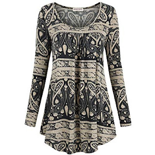 Buy Amazon Women's  Floral Print Tunic Shirts Pleated Flowy Blouse Tops