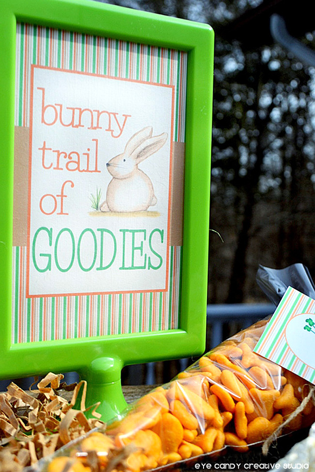 bunny trail of goodies, easter sign, goldfish crackers, healthy snacks