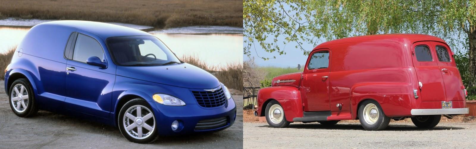 Imagem das fotos do PT Cruiser Van Concept (direita) e Chevy Panel Truck (esquerda)